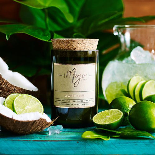 MOJO CANDLE CO Upcycled Wine Bottle Soy Wax Candle - Coconut & Lime - Econique