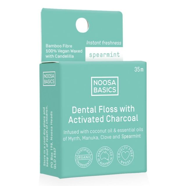 NOOSA BASICS Dental Floss with Activated Charcoal - Spearmint - Econique