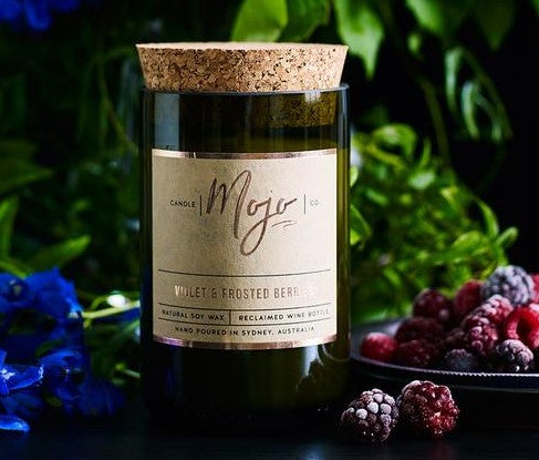 MOJO CANDLE CO Upcycled Wine Bottle Soy Wax Candle - Frosted Berries/Violet - Econique