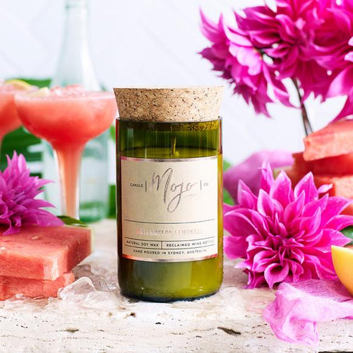 MOJO CANDLE CO Upcycled Wine Bottle Soy Wax Candle - Watermelon/Lemonade