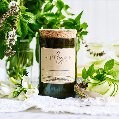 MOJO CANDLE CO Upcycled Wine Bottle Soy Wax Candle - Wild Basil/Cucumber - Econique