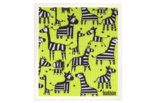 Retro Kitchen Compostable Sponge Cloth Zebras - Econique