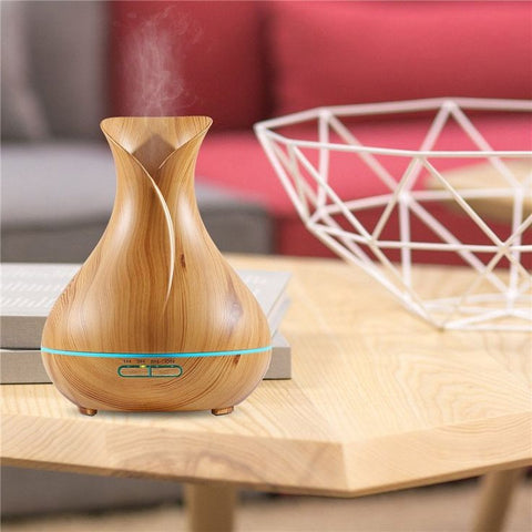 400ml Vase-Shaped Wood Grain LED Ultrasonic Aroma Essential Oil Diffuser/Air Humidifier