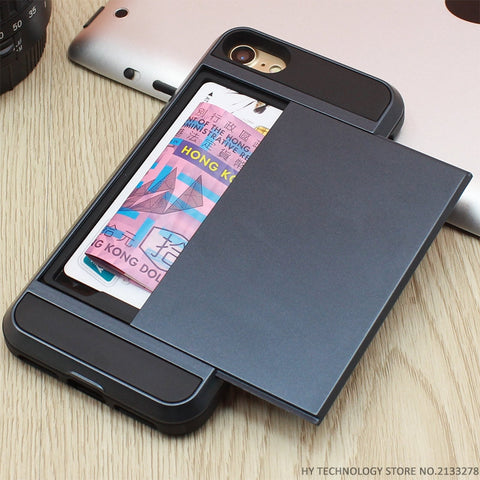 2-in-1 Shock-Proof Rubber Phone And Card Holder Case for iPhone (5/SE/5S/5C/6/6S/7/Plus)