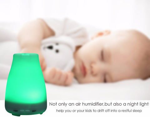 Essential Oil Diffuser and Humidifier with LED Light 7-Color (100ml)