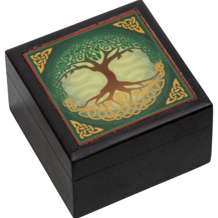 Velvet Lined Printed Clear Top Jewelry Box - Tree of Life