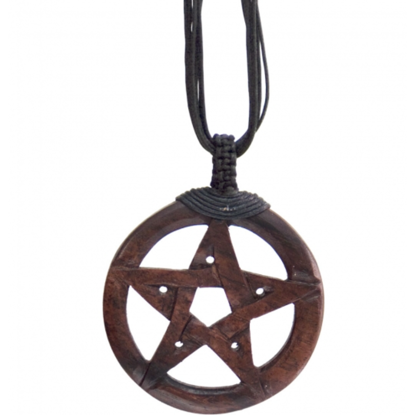 Wood Pendant Pentacle with Black Cord