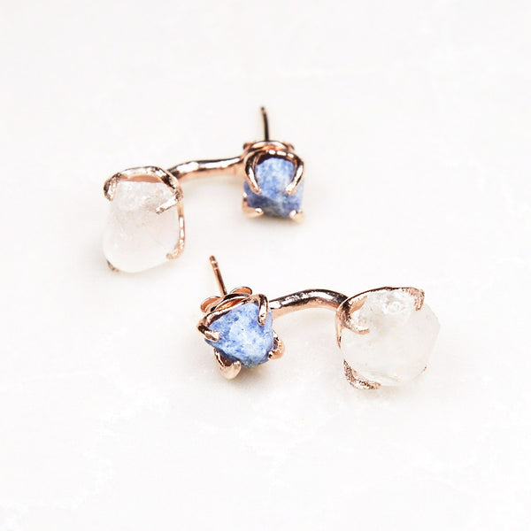 Rose Gold Sapphire Earrings. Raw Sapphire Earrings. September birthstone jewelry. Rose gold drop earrings. Sapphire jewelry.