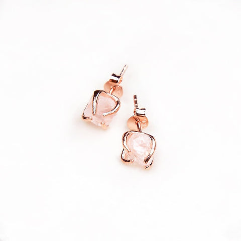 Mini Rose Quartz Earrings - Rose Gold