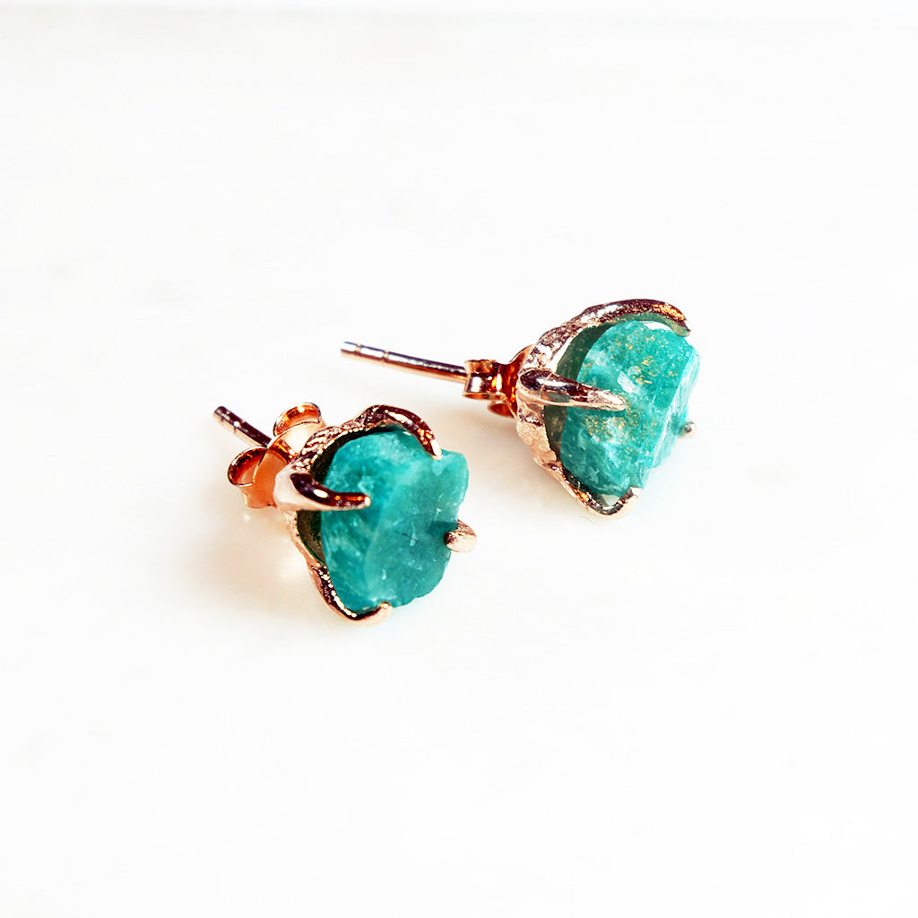 Amazonite earrings. Amazonite gold earrings. Amazonite rose gold earrings. Raw Amazonite earrings. Amazonite studs. Green gemstone earrings. Raw Amazonite. Raw Gemstone Jewelry. Raw gemstone jewellery Australia. Gemstone jewellery Australia. Gemstone jewelry. Raw crystal earrings. Amazonite jewelry. Green.