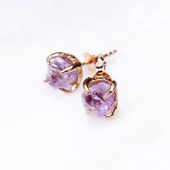 Amethyst Earrings. February Birthstone Earrings. Raw Amethyst Earrings. Amethyst Rose Gold Earrings, Amethyst Jewelry. Amethyst Jewellery. Amethyst crystal earrings.