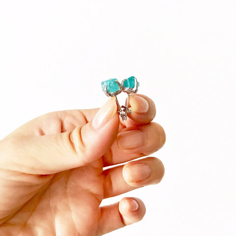Raw apatite earrings. Raw apatite studs. Blue apatite. Green crystal earrings. Blue crystal earrings. Silver blue apatite earrings. Silver gemstone earrings.