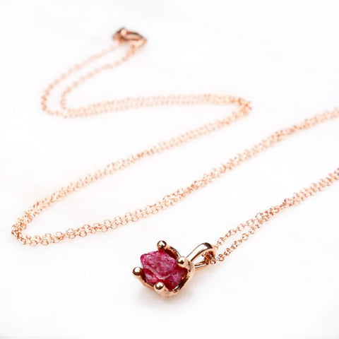 Ruby necklace, ruby pendant, rose gold ruby necklace, raw ruby necklace, raw ruby, ruby, gold ruby necklace, handcrafted, handmade.