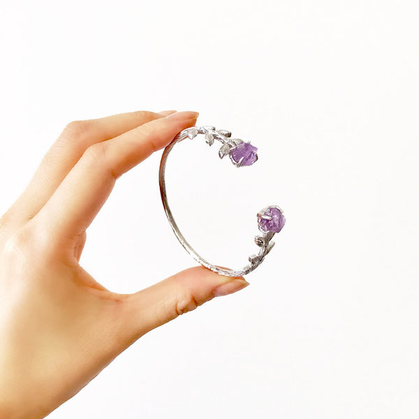 Amethyst cuff. Raw amethyst cuff. Silver amethyst cuff. Silver amethyst bracelet. Silver amethyst bangle. Bohemian wedding jewellery. Bohemian wedding jewelry. Raw gemstone jewelry. Elegant bohemian jewelry. Raw amethyst bracelet. Raw amethyst bangle. Raw amethyst jewellery. Sterling silver.
