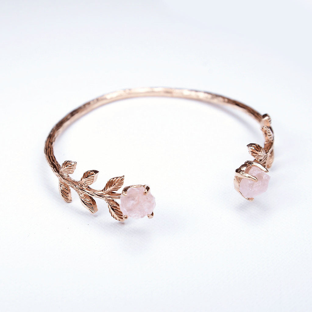Bridal Cuff. Rose gold & Rose Quartz Cuff. Handmade Rose gold cuff. Rose Quartz Bracelet. Wedding Cuff Bracelet. Bridal. Handcrafted.