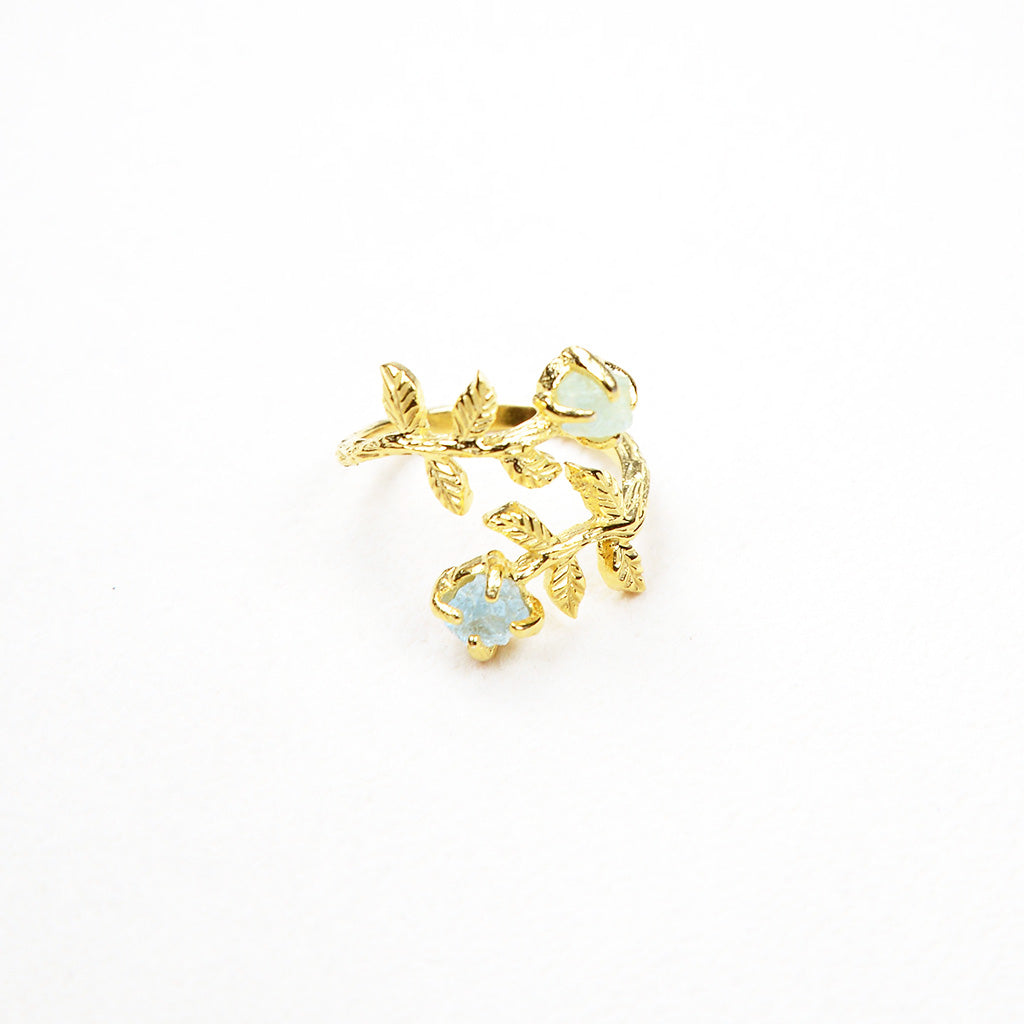 Gold gemstone ring. Gold aquamarine ring. Gold fluorite ring. Gold crystal ring. Raw gemstone ring gold. Handmade gold ring. Handmade jewellery Australia. Handcrafted. Yellow gold ring. Gold jewellery. Gold ring.