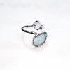 Double Gem Ring - Aquamarine, Topaz, Silver