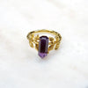 Gold amethyst ring. Amethyst ring. Vintage inspired ring. Art deco ring. Handmade jewellery. Amethyst jewellery Australia. February birthstone. Unique amethyst ring.