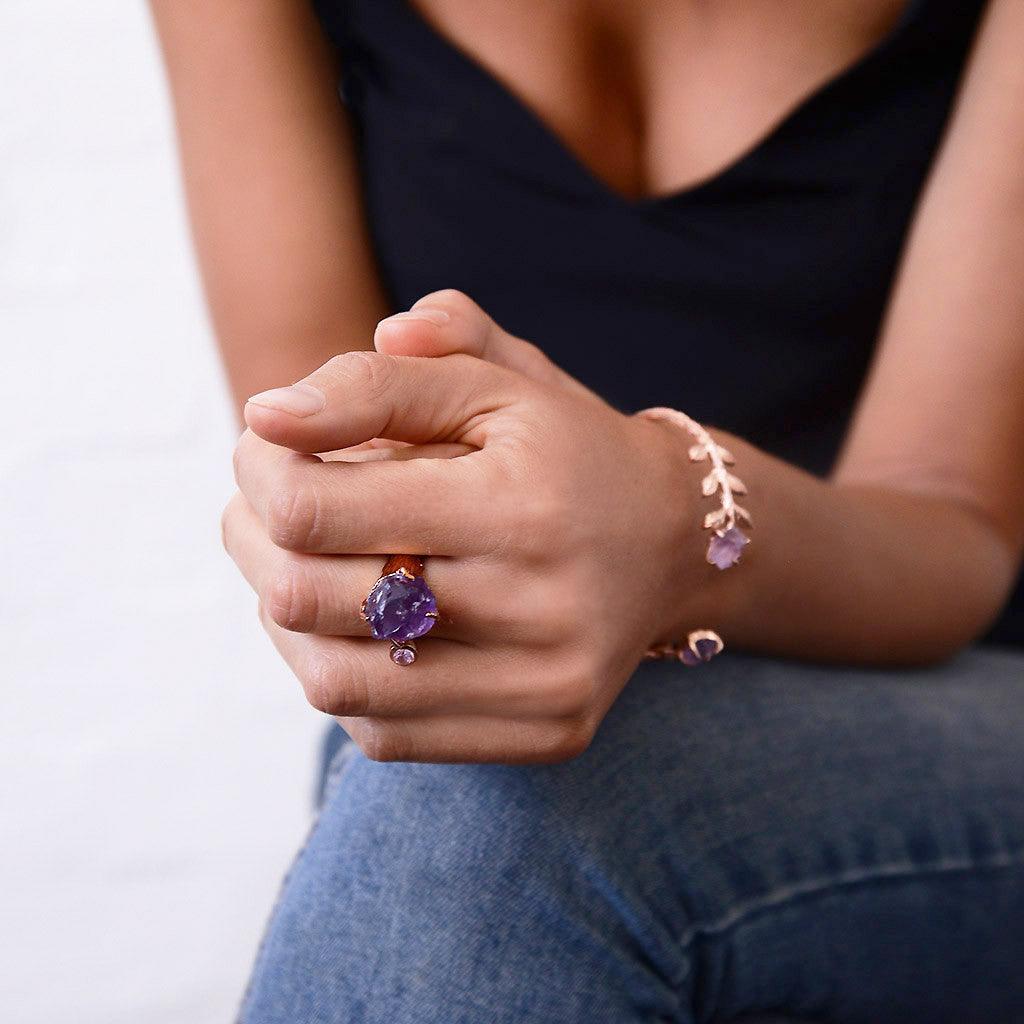 Amethyst Rose Gold Ring. Amethyst Ring. Amethyst Gold Ring. Statement Ring. Gemstone Ring. February Birthstone. February Birthstone Ring. Raw Gemstone Ring. Raw Amethyst Ring. Raw crystal ring.