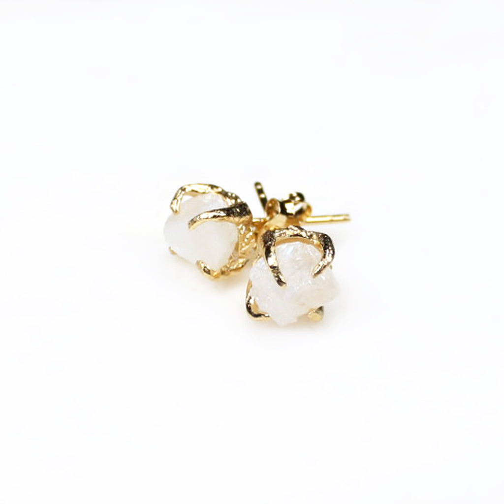 Moonstone earrings. Moonstone studs. Gold moonstone earrings. Gold moonstone studs. Raw moonstone jewelry.