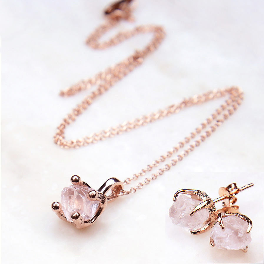 Rose Quartz Rose Gold Bridal Jewelry Set THE GEM MAKER The Gem