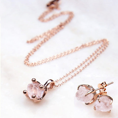 Rose gold jewelry set. Rose quartz jewelry set. Rose quartz necklace. Rose quartz earrings. Rose gold necklace. Wedding set. Bridal jewelry set. Mother's Day Gift.