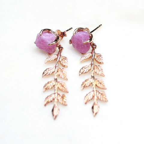 Pink ruby earrings. Rose gold drop earrings. Ruby rose gold earrings. Raw ruby earrings. Handmade earrings. Rose gold handmade earrings. Handcrafted jewellery. Handmade jewellery Australia. Ruby earrings. Ruby gold earrings. Raw gemstone earrings. Raw ruby. Raw ruby earrings.