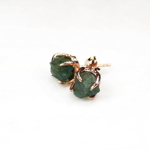 Raw emerald earrings. Raw emerald rose gold earrings. Emerald rose gold earrings. Emerald gold earrings. Raw emerald studs. Green earrings. Green gemstone earrings. Raw gemstone earrings. Raw gemstone studs. Raw crystal jewellery. Handmade. May birthstone earrings. May birthstone jewellery. Raw emerald.