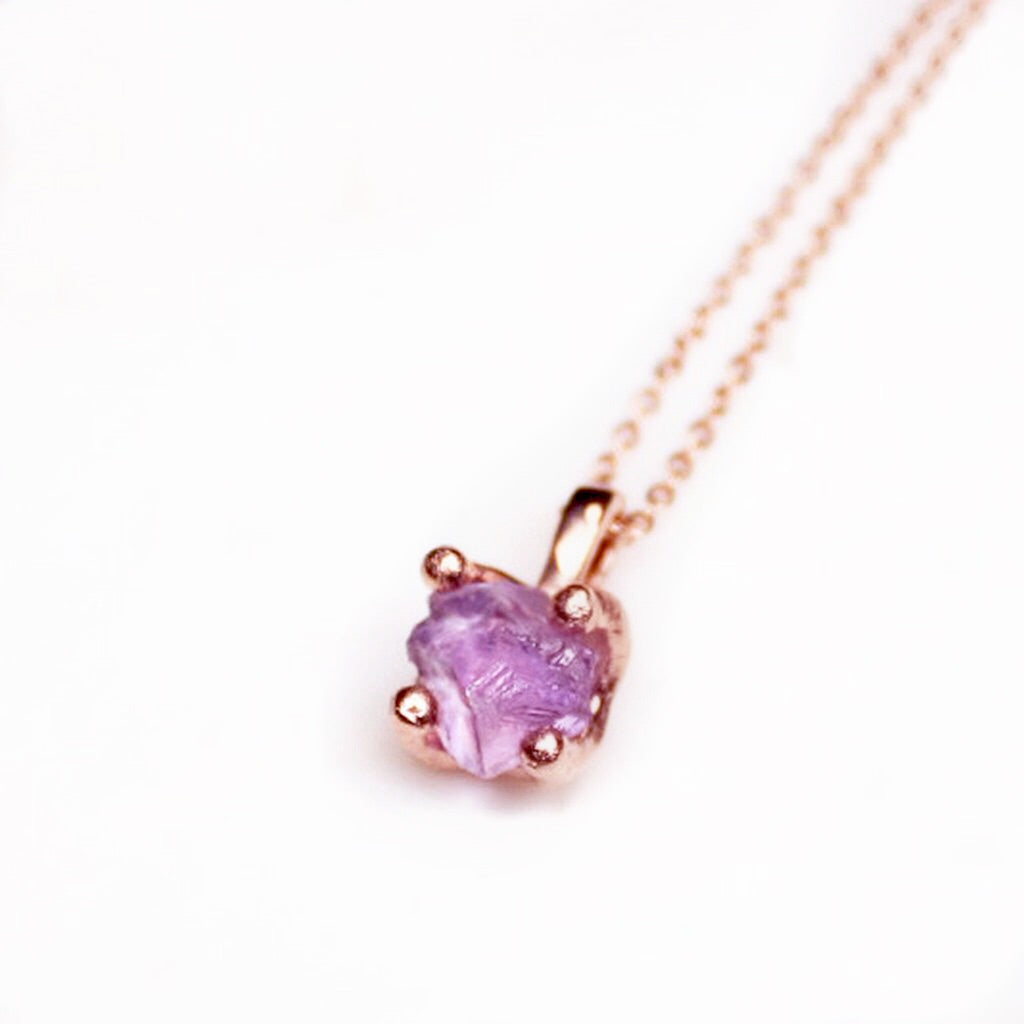 Pink amethyst rose gold necklace the gem maker the gem maker amethyst necklace raw amethyst necklace amethyst rose gold necklace amethyst gold necklace aloadofball Choice Image