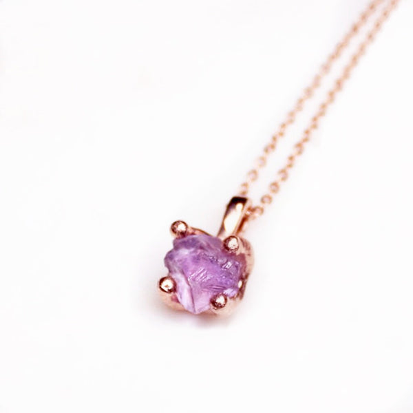 Amethyst necklace. Raw amethyst necklace. Amethyst rose gold necklace. Amethyst gold necklace. Raw Amethyst pendant. Raw Amethyst jewellery. Raw amethyst jewelry. February birthstone. February birthstone jewellery. Raw gemstone jewellery Australia. Pink amethyst.