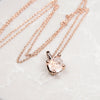 Fine Pendant Necklace - Clear Quartz, Rose Gold