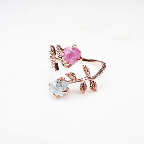 Divine Ring - Pink Ruby, Aquamarine, Rose Gold