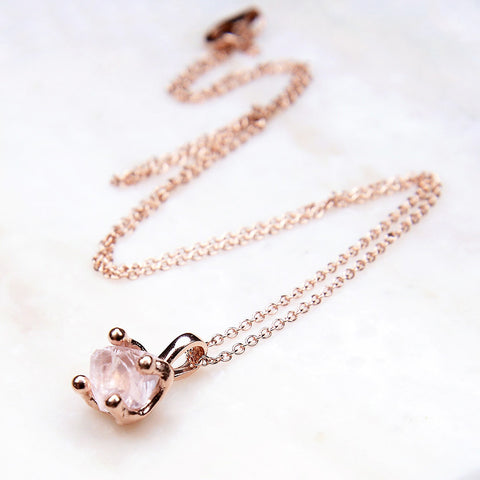 Rose quartz necklace, rose quartz pendant, rose gold necklace, rose quartz, rose quartz gold necklace, handmade, handcrafted rose gold necklace.