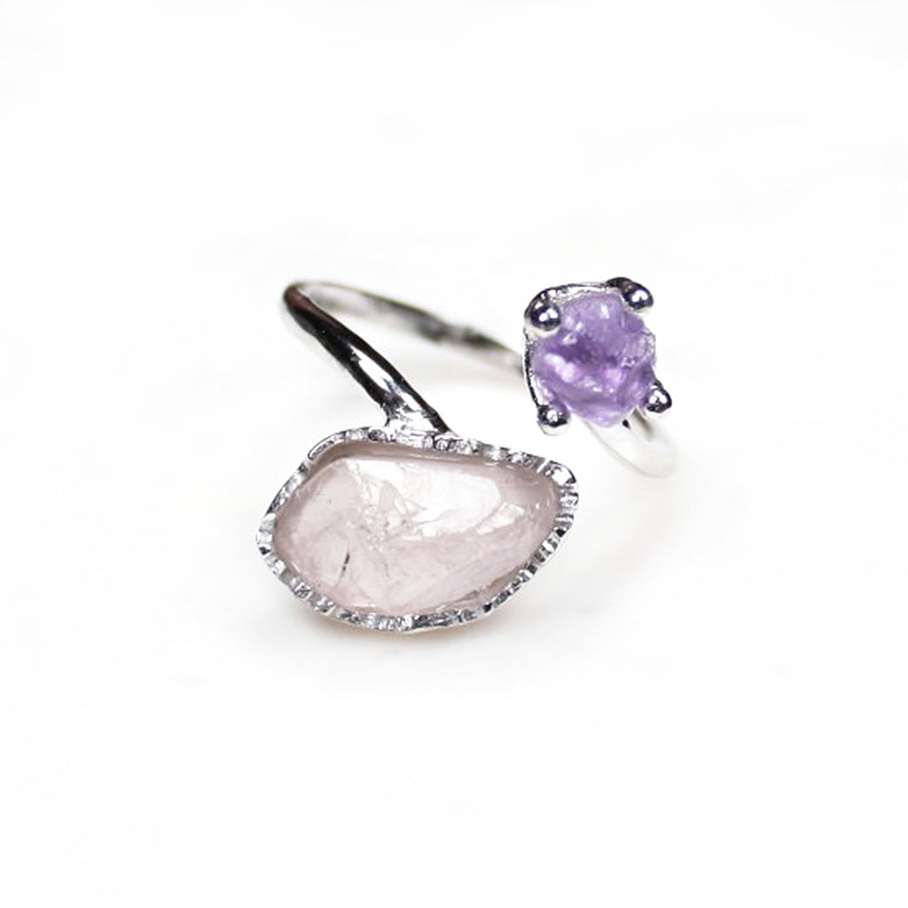 Rose Quartz Ring. Silver Rose quartz ring. Silver amethyst ring. Raw gemstone ring. Sterling silver ring. Silver gemstone ring.