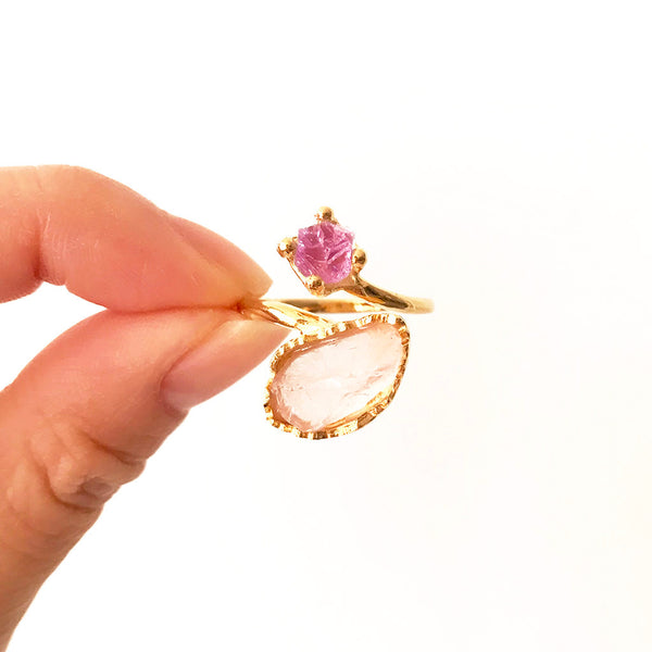 Gold amethyst ring. Gold rose quartz ring. Rose quartz ring. Amethyst Ring. Raw amethyst ring. Raw rose quartz ring. Yellow Gold Ring. Adjustable Gemstone Ring. Adjustable Gold Ring. Handmade Jewellery Australia.
