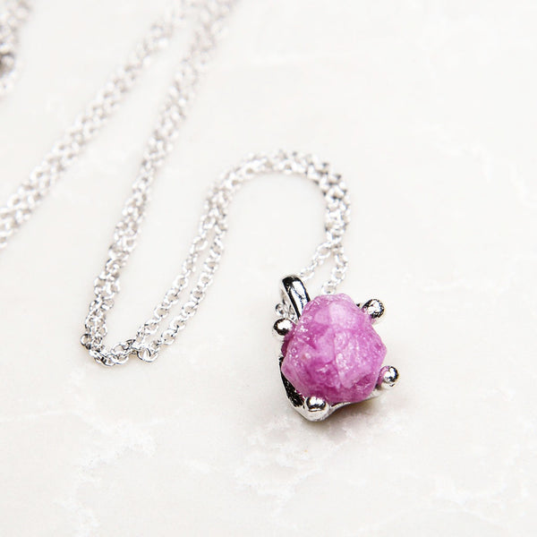 Pink ruby necklace. Silver ruby necklace. Pink ruby. Raw ruby necklace. Sterling silver. Raw gemstone. Raw gemstone jewelry. Raw gemstone jewellery. Raw ruby.