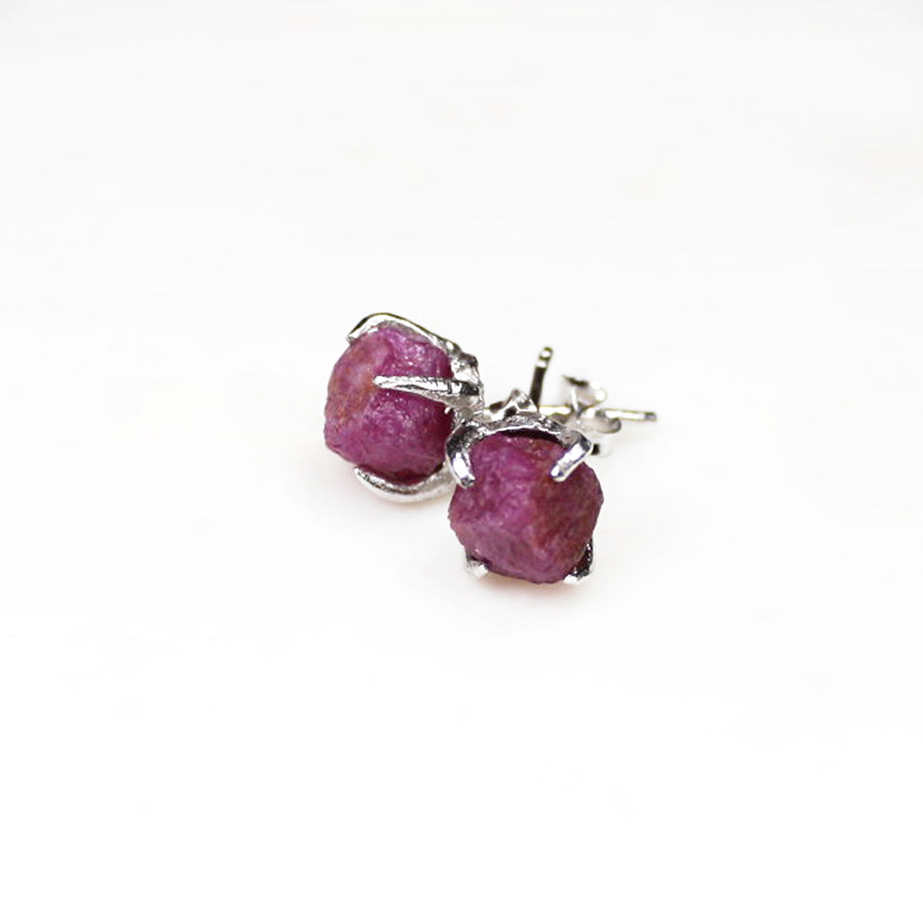 ed1e1862c Raw ruby studs. Silver ruby earrings. Silver ruby studs. Raw ruby earrings.