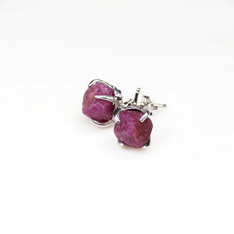 Raw ruby studs. Silver ruby earrings. Silver ruby studs. Raw ruby earrings. Sterling silver. Handmade jewellery Australia. Raw gemstone jewellery. Raw ruby jewellery. July birthstone.