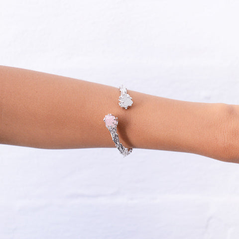 Raw rose quartz cuff. Raw gemstone cuff. Silver gemstone cuff. Silver rose quartz cuff. Silver topaz cuff. Silver rose quartz jewelry. Silver topaz jewelry. Statement cuff. Statement Jewelry. Handmade. Raw. Raw gemstone jewelry. Rose quartz cuff. Silver rose quartz.