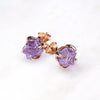 Rose Gold Amethyst Stud Earrings. February Birthstone Earrings. Raw Amethyst Earrings. Amethyst Gold Earrings, Pink Amethyst Earrings, Amethyst Jewelry. Amethyst Jewellery. Amethyst crystal earrings