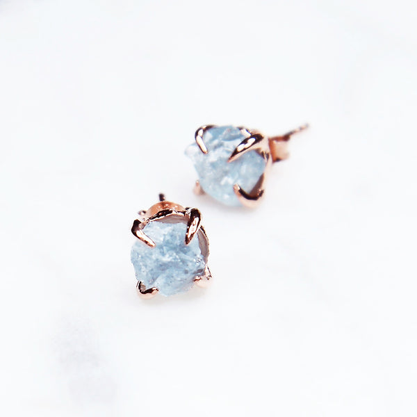 Aquamarine earrings. Rose gold aquamarine earrings. March birthstone earrings. Wedding Earrings. Bridal Earrings. Anniversary gift. Birthday gift for her.