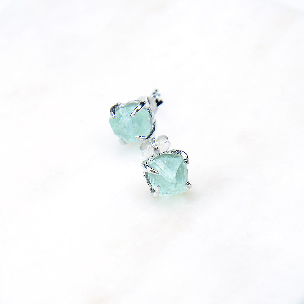 Green Fluorite Earrings. Silver Green Studs. Silver Green Fluorite Earrings. Green Fluorite Studs. Green crystal earrings. Green gemstone earrings. Green gemstone studs. Raw gemstone studs. Raw gemstone earrings. Green crystal earrings. Sterling Silver. Handmade.