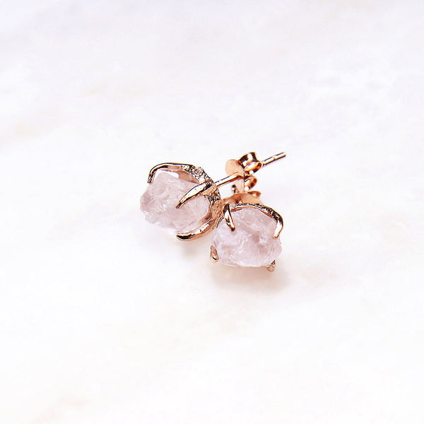 Rose quartz earrings. Rose quartz studs. Rose Gold Bridal jewelry. Rose quartz rose gold earrings. Rose quartz gold earrings. Rose quartz rose gold studs. Bridal Jewellery Australia. Gemstone Jewellery Australia. Raw gemstone jewelry.