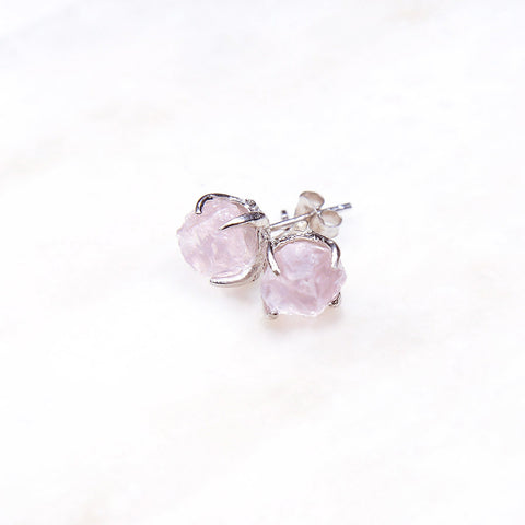 Rose quartz earrings. Rose quartz studs. Silver rose quartz earrings. Raw rose quartz earrings. Silver Bridal jewelry. Sterling silver jewelry. Rough gemstone jewelry.