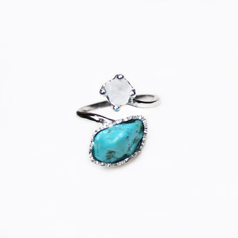 Double Gem Ring - Moonstone, Turquoise, Silver
