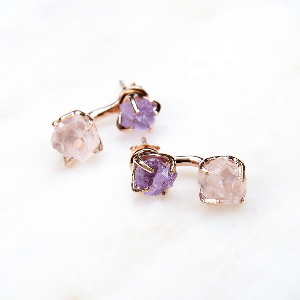 2 Way Earrings - Rose Quartz, Amethyst, Rose Gold