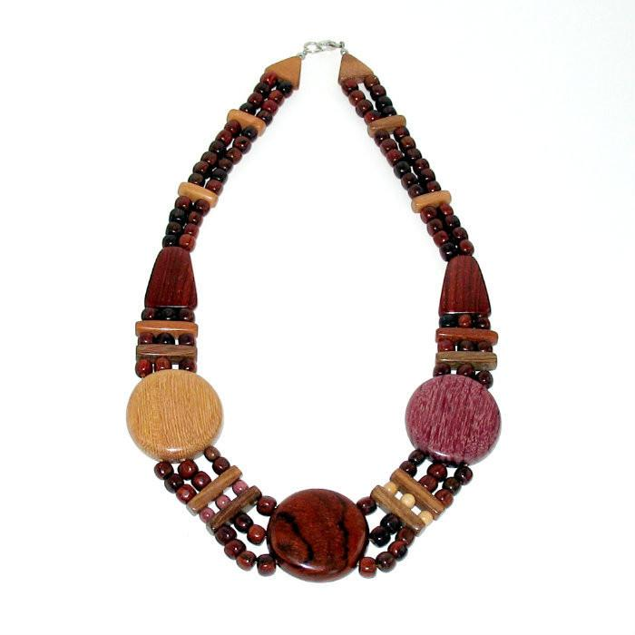 Wood Necklace - Augustina - Natural Artist