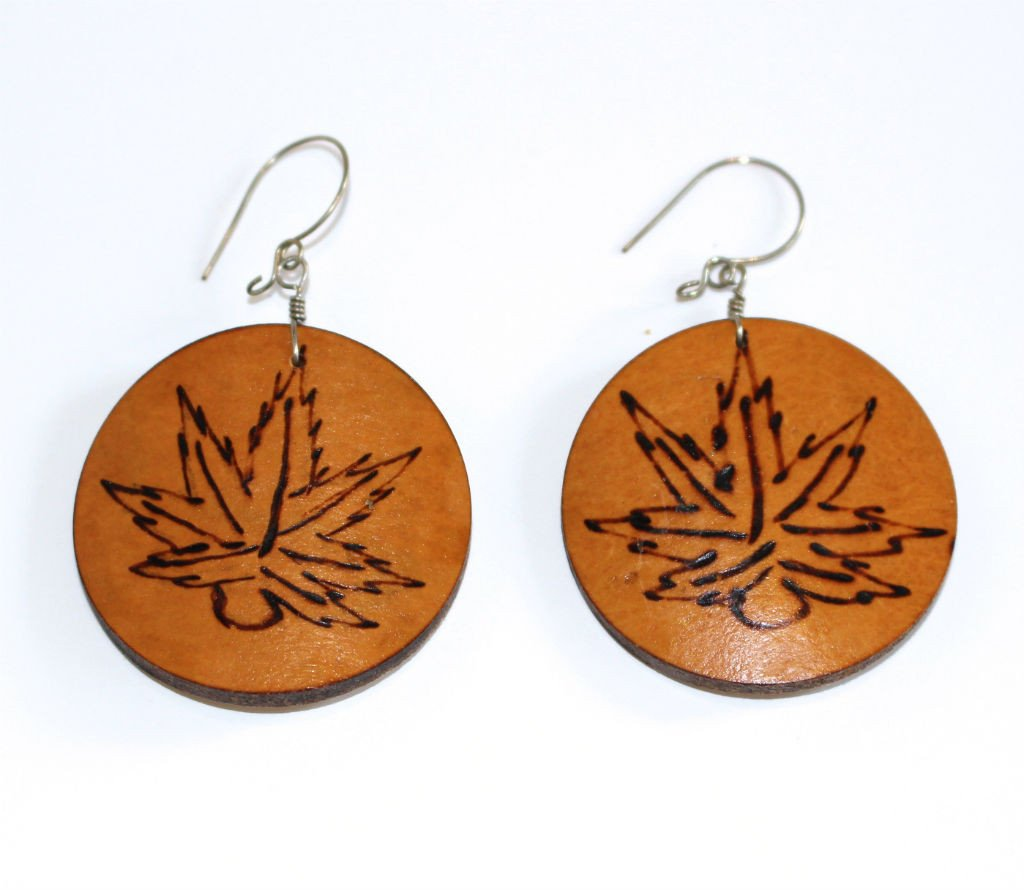 Medicinal Leaf - Carved Gourd Earrings - Natural Artist