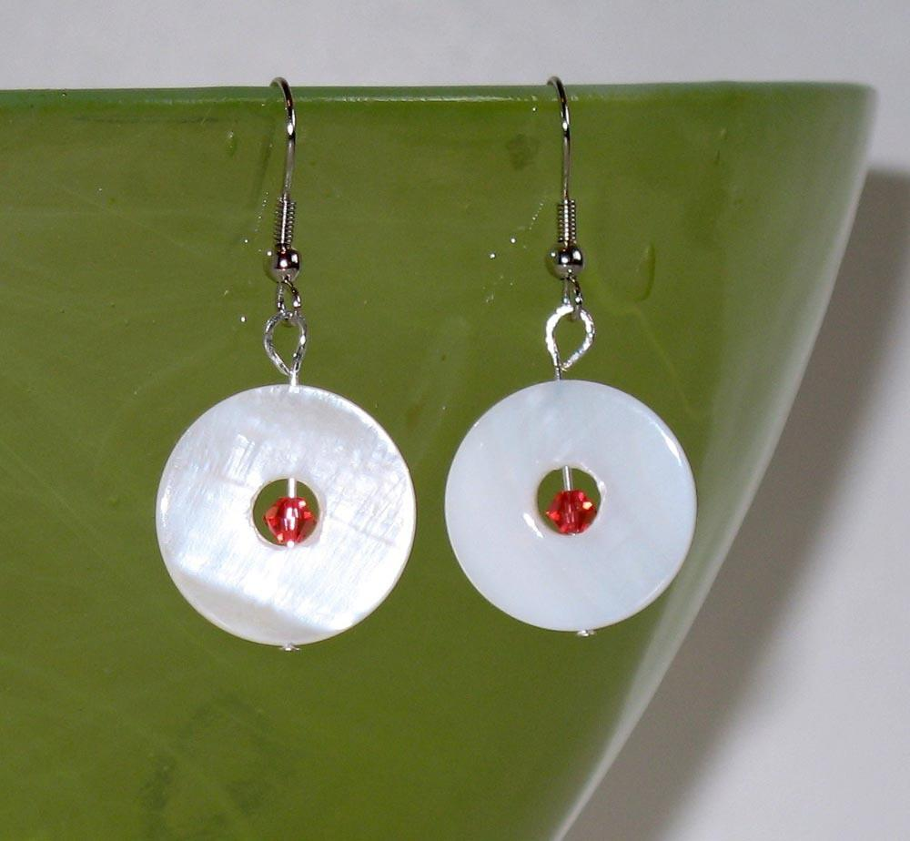 Mother of Pearl and Crystal Earrings - Natural Artist
