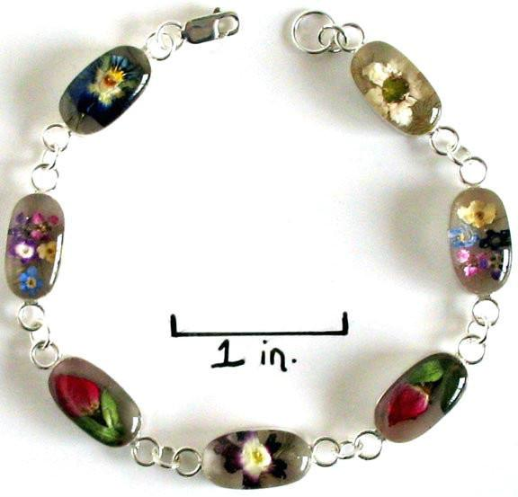 Real Flower Sterling Silver Bracelet - Heather - Natural Artist